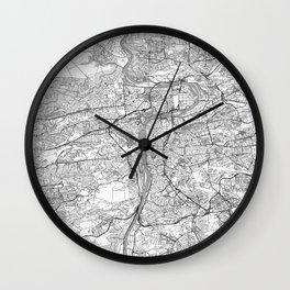 Prague Map Line Wall Clock