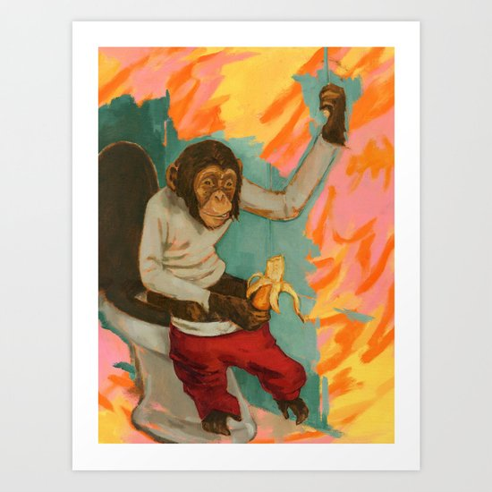 """Primitive Neurological Circuitry (Chimp on Toilet)"" Art Print"