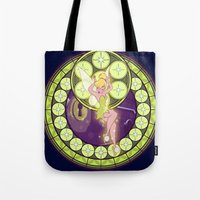 tinker bell Tote Bags featuring Tinker Bell by NicoleGrahamART