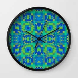 WICKED bright green and royal blue symmetrical geometric design Wall Clock