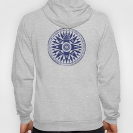 Nautical Compass | Navy Blue and White Hoody