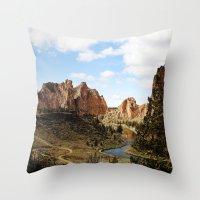 melissa smith Throw Pillows featuring Smith Rock by Sylvia Cook Photography