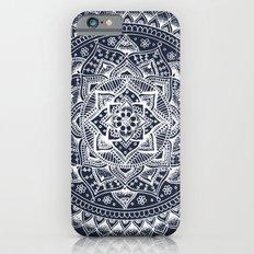 White Flower Mandala on Dark Blue Slim Case iPhone 6