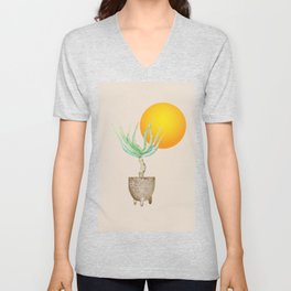 Hand Drawn Set, Bohemian Pot Of Aloe, sunshine, minimal potted plants, No 01 Unisex V-Neck