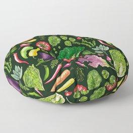 Vegetable and herbs garden on dark green Floor Pillow