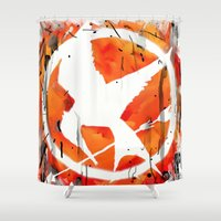 mockingjay Shower Curtains featuring The Mockingjay by Trinity Bennett