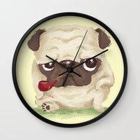 pug Wall Clocks featuring Pug by Toru Sanogawa