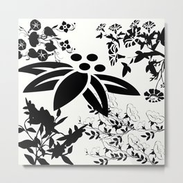 Damask Black and White Toile Floral Graphic Metal Print