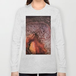 Copper Brown Agate Mineral Gemstone Geode Long Sleeve T-shirt