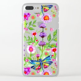 Tropical Dragonfly Garden Clear iPhone Case