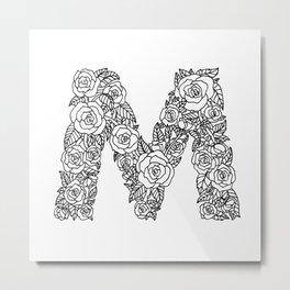 Floral Type - Letter M Metal Print
