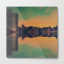 Mirrored City Triptych Left Metal Print