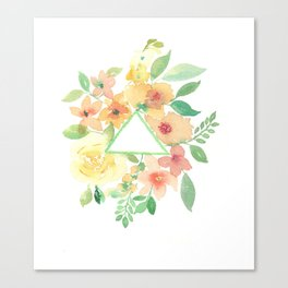 Blooms around geometry Canvas Print