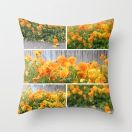Orange Pansies Collage Throw Pillow