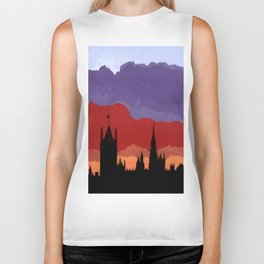London Skyline sunset torn paper and pen  Biker Tank