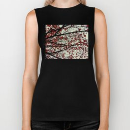 red maple leaves on a pea soup day Biker Tank
