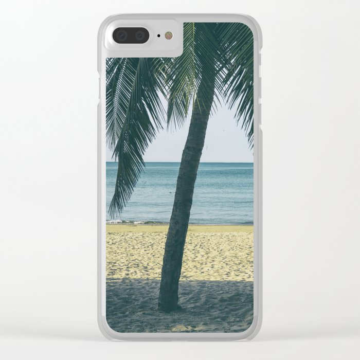 Under the palm tree shadows Clear iPhone Case