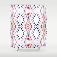 aqua Shower Curtains featuring Aqua by FakeFred