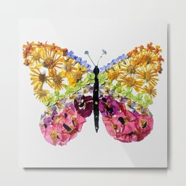 Grey Pressed Flower Butterfly Metal Print
