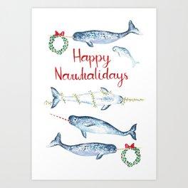 Happy Narwhalidays Art Print