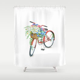 Vintage Red Bicycle with Flowers Shower Curtain
