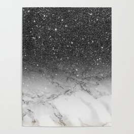 Stylish faux black glitter ombre white marble pattern Poster