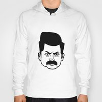 ron swanson Hoodies featuring Ron Swanson by bookotter