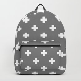 White Swiss Cross Pattern on Light Grey background Backpack