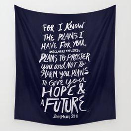 Jeremiah 29: 11 x Navy Wall Tapestry