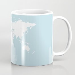World Map - Wanderlust Quote - Modern Travel Map in Light Blue With White Countries Coffee Mug