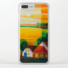 DoroT No 0181 – Summer Evening Over Village – Sommerabend über dem Dorf Clear iPhone Case