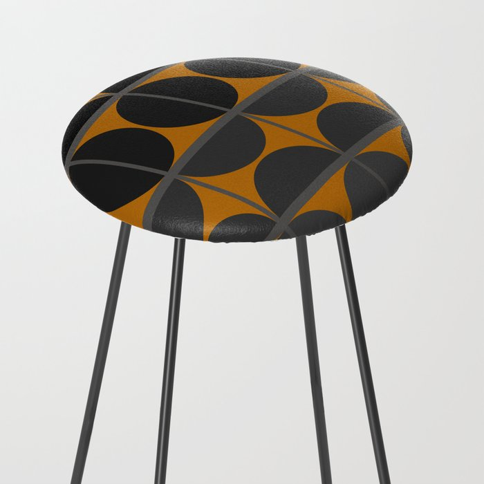 Black and Gray Gradient with Gold Squares and Half Circles Digital Illustration - Artwork Counter Stool