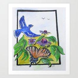 Blue Jay Fantasy Art Print