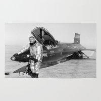 neil gaiman Area & Throw Rugs featuring Neil Armstrong by Planet Prints