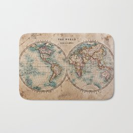 Vintage Map of the World 1800 Bath Mat