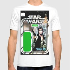 Han Solo Vintage Action Figure Card MEDIUM Mens Fitted Tee White