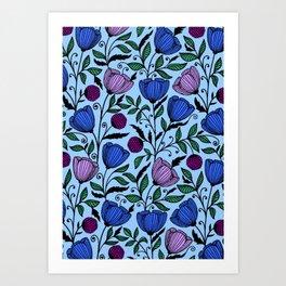 Blue cinch flowers Art Print