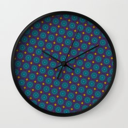Art Deco Pattern in blue, purple, yellow and teal repeating circles Wall Clock
