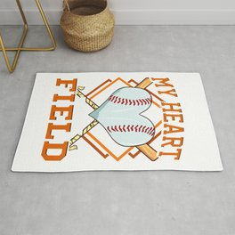 My Heart Is On That Field Baseball Player Fans Rug