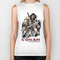 conan Biker Tanks featuring Conan by CromMorc