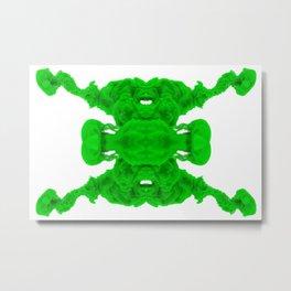 Green Ink Drop in Water Metal Print
