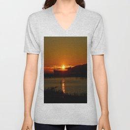 Sunset Over Columbia River At Astoria Harbor Unisex V-Neck