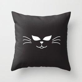 Cool Cat Face Throw Pillow