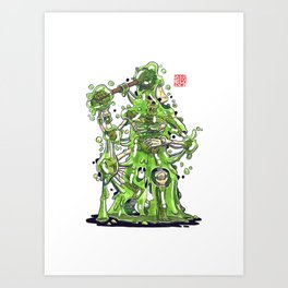 Blobby Skeleton - Green Art Print