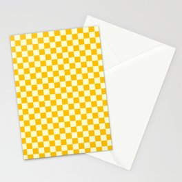 Cream Yellow and Amber Orange Checkerboard Stationery Cards