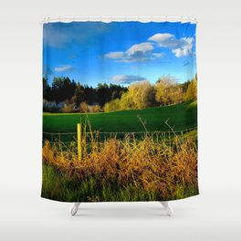 Golden Evening Light Across A Field Shower Curtain