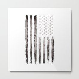 American flag Stars and stripes Silver edition Metal Print