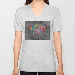 world map 81 dark color mosaic Unisex V-Neck