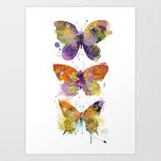 3 farfalle Art Print