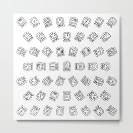 Maya astrology symbols pattern Metal Print